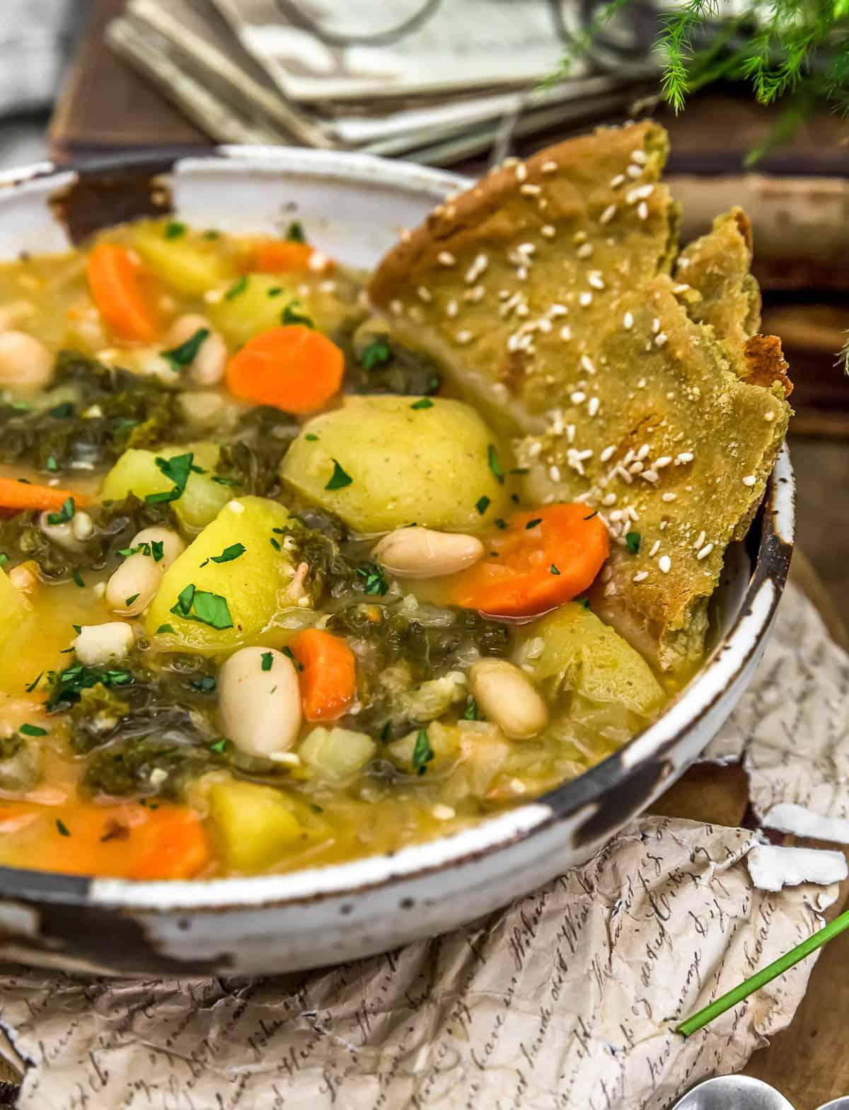 """Vegan Potato """"Keilbasa"""" Kale Soup"""