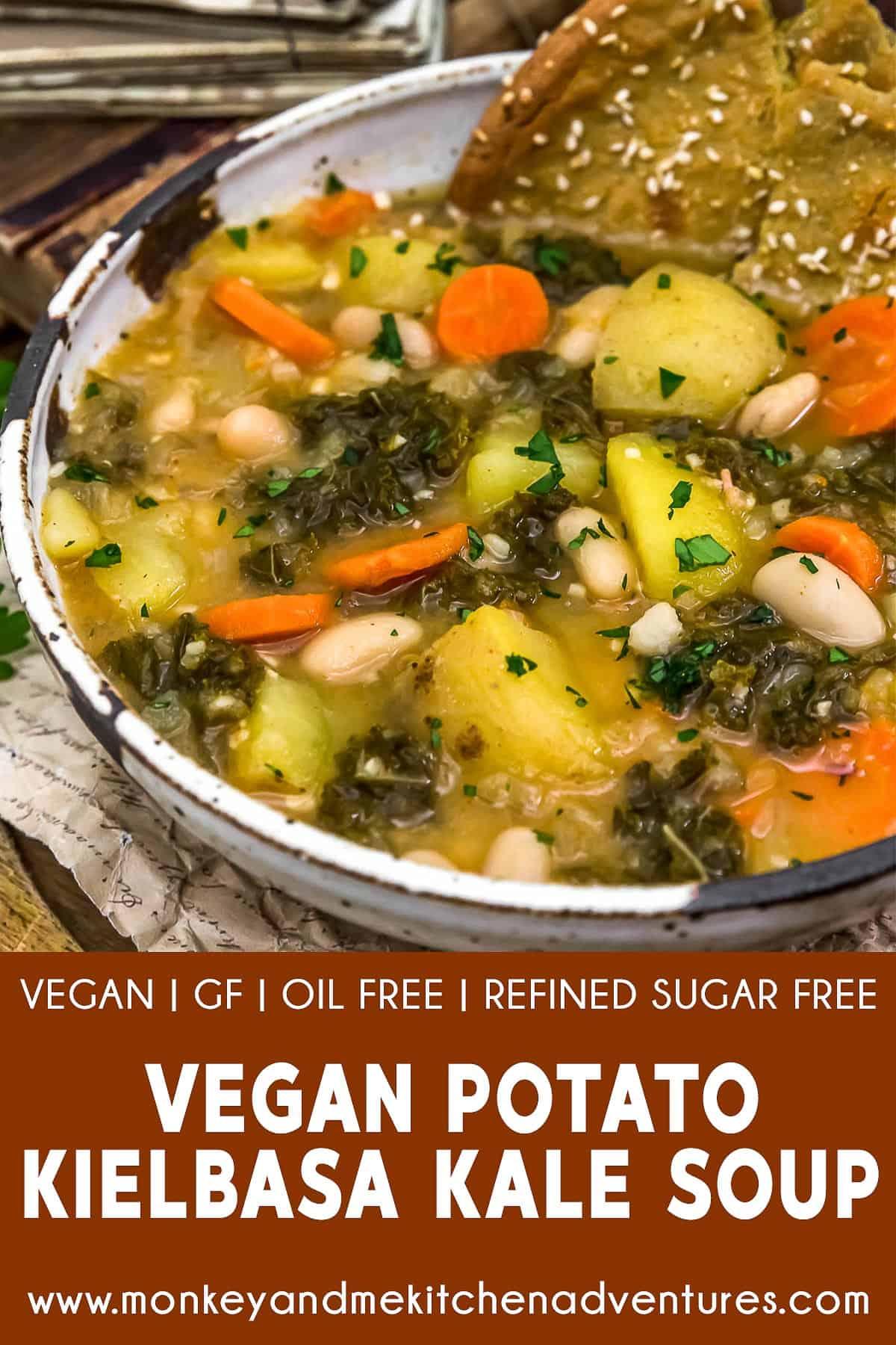 """Vegan Potato """"Kielbasa"""" Kale Soup"""