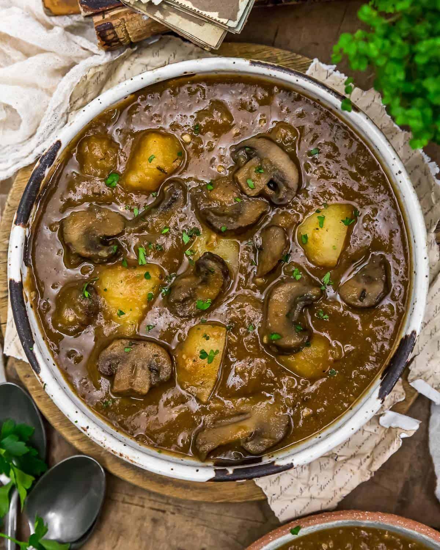 Bowl of Creamy Harvest Mushroom Potato Soup