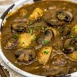 Close up of Creamy Harvest Mushroom Potato Soup