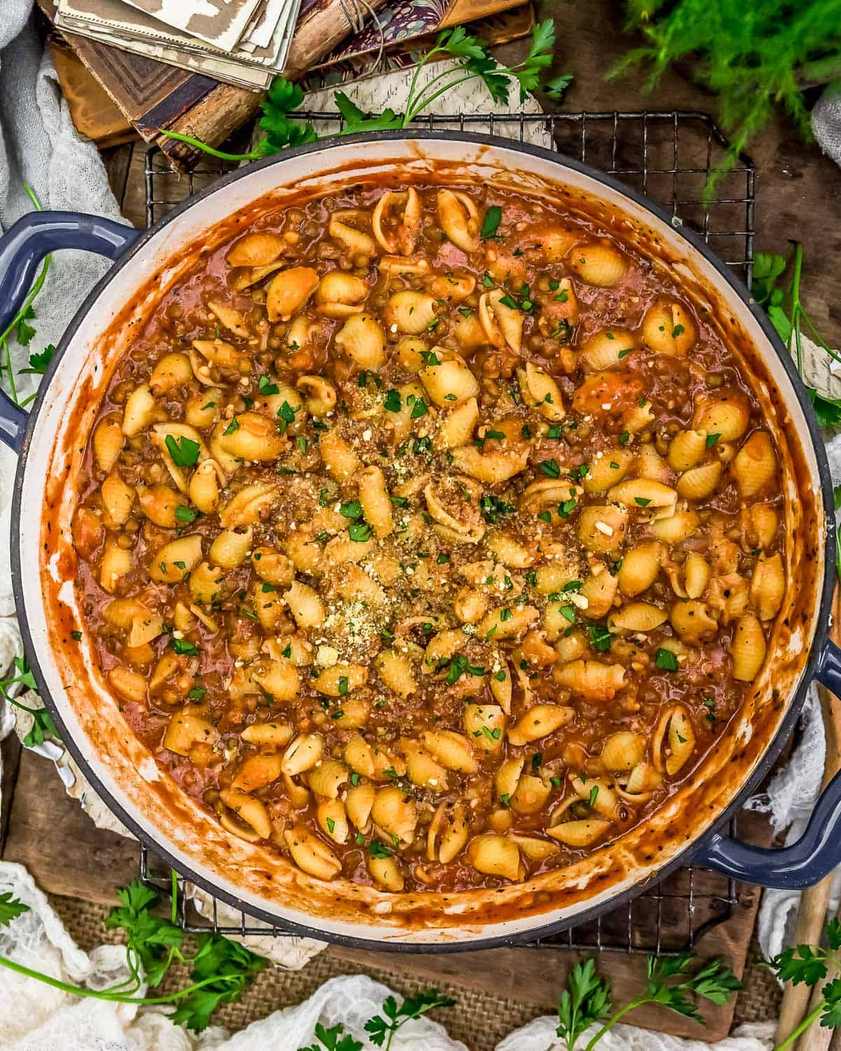 Skillet of Creamy Lentils and Shells
