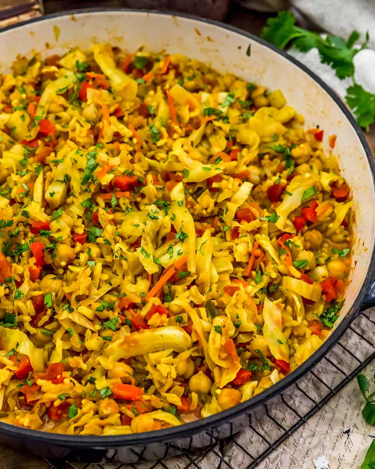 Close up of Curry Cabbage Rice Skillet