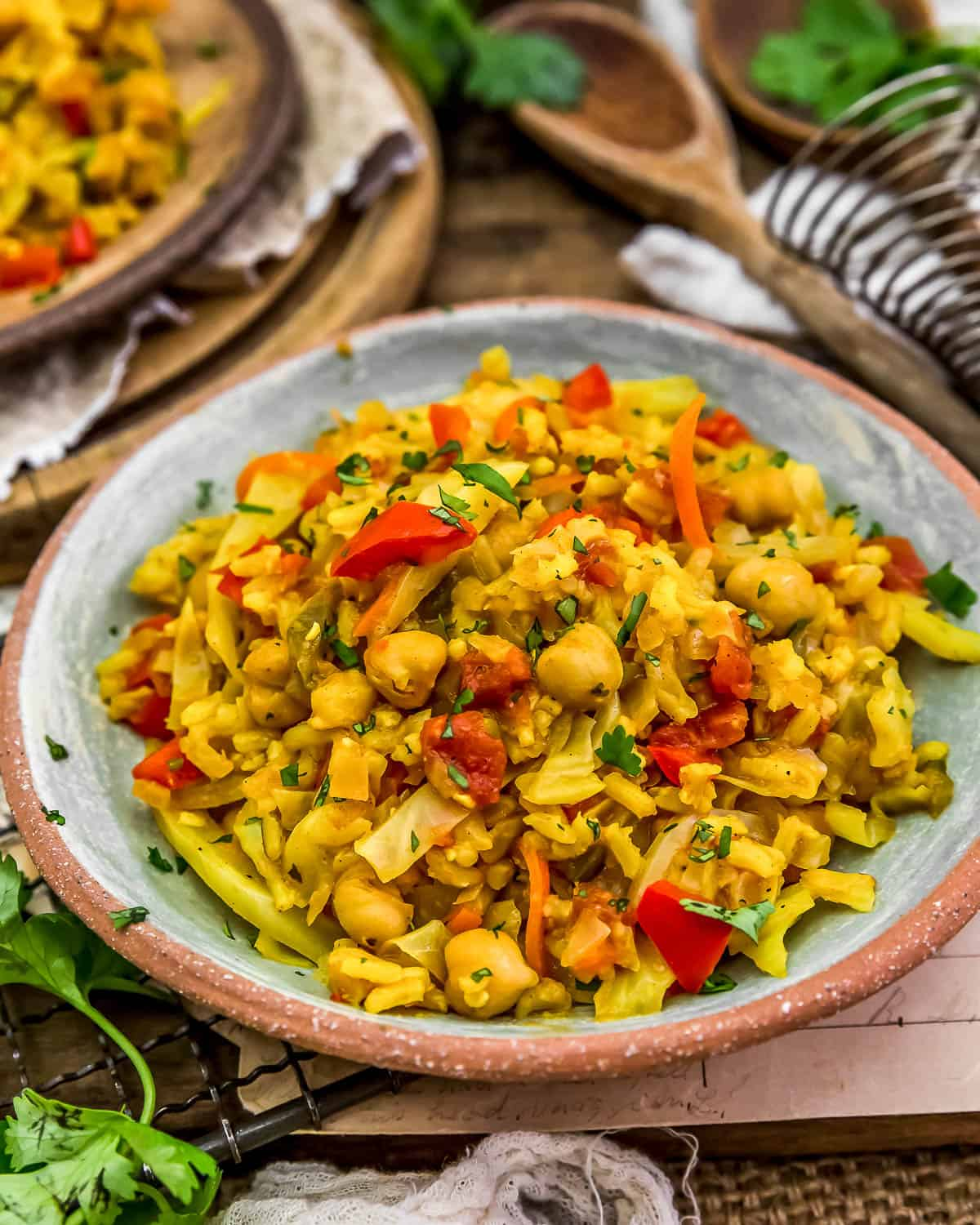 Served Curry Cabbage Rice Skillet