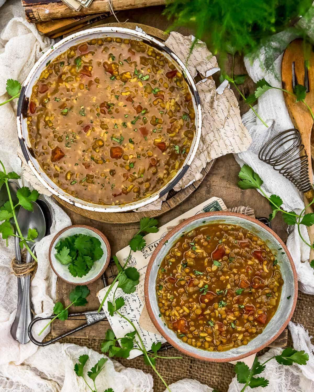 Tablescape of Persian Lentil Soup