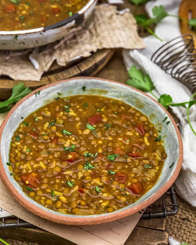 Served Persian Lentil Soup