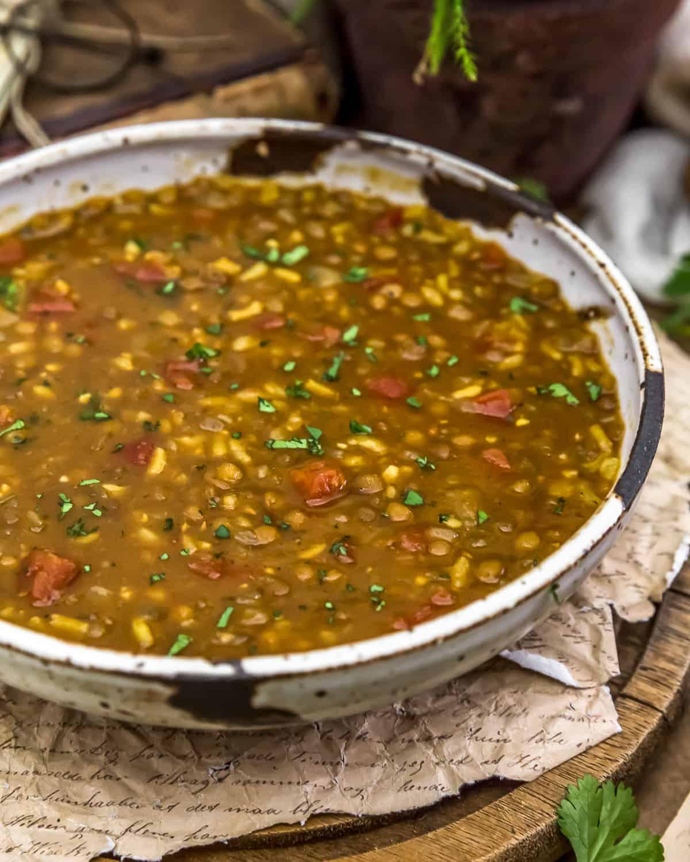 Close up of Persian Lentil Soup