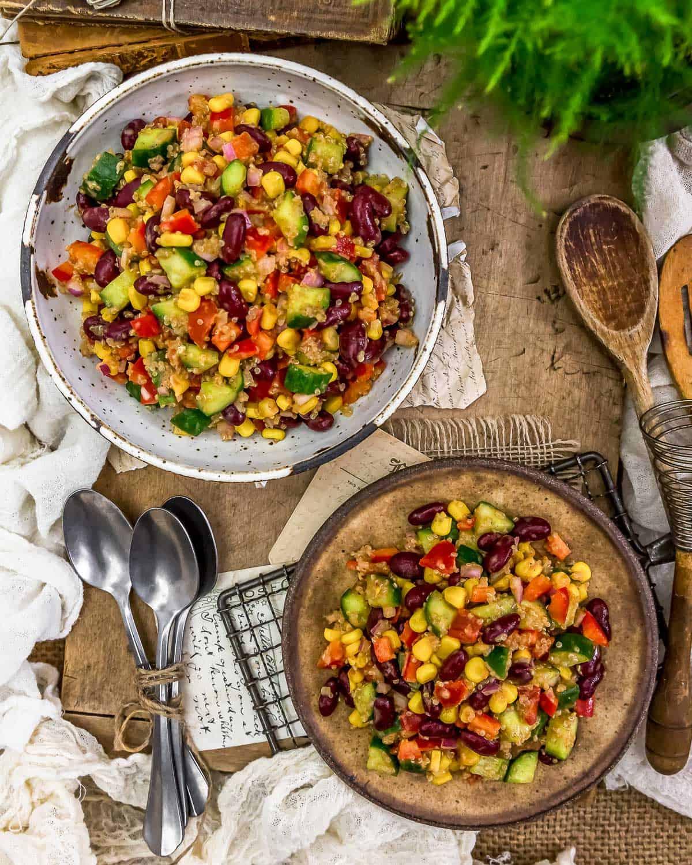 Tablescape of Tex-Mex Quinoa Salad