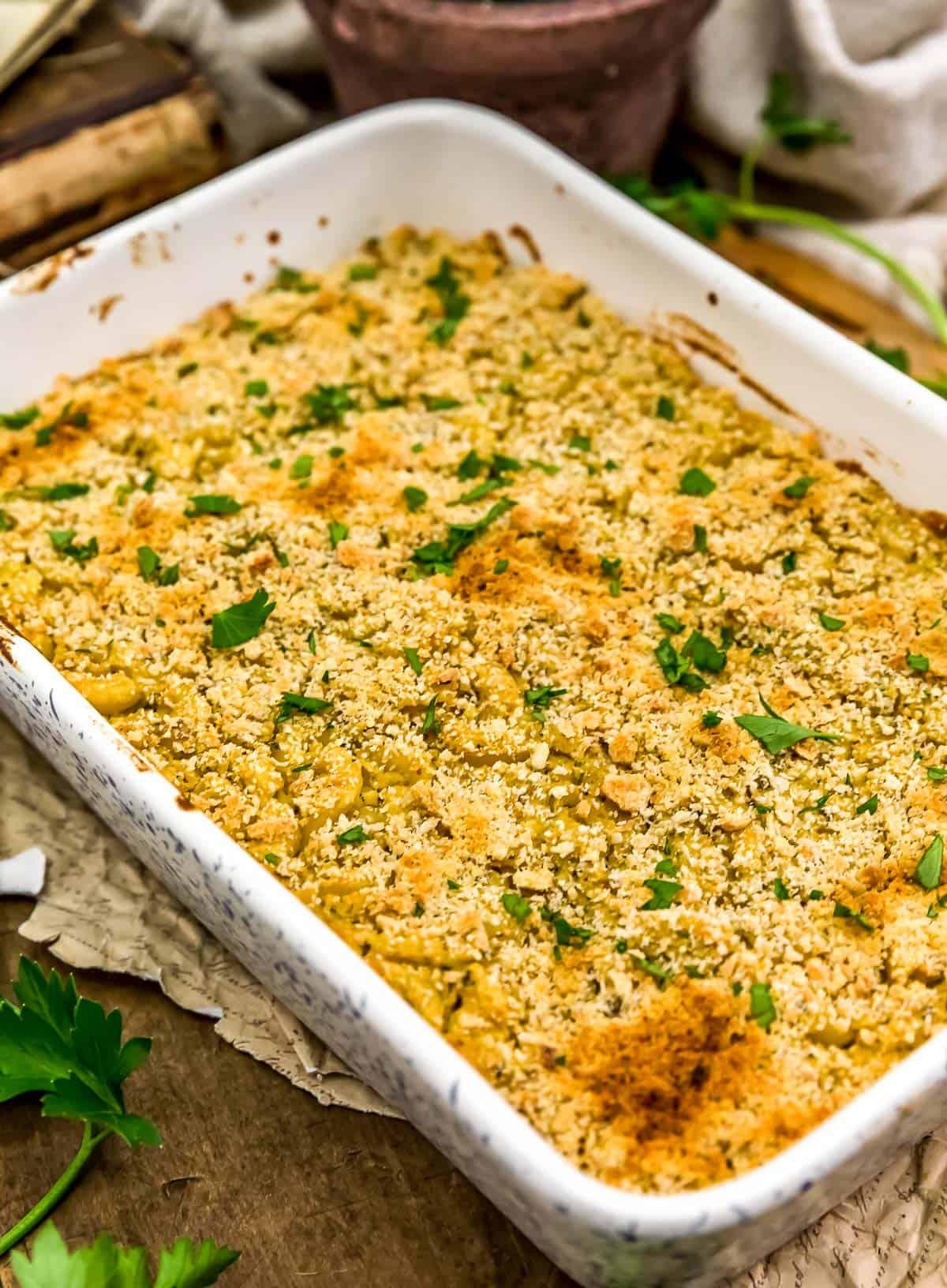 Baked Vegan Italian Parmesan Mac and Cheese