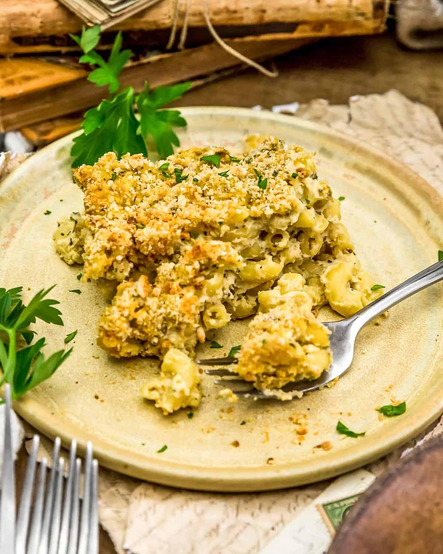 Served Vegan Italian Parmesan Mac and Cheese