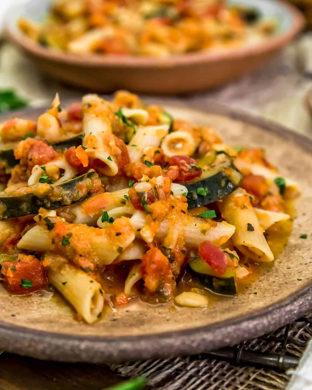 Close up of Garden Veggie Ragu Pasta