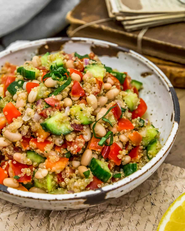 Lemon Basil Quinoa Salad in a bowl