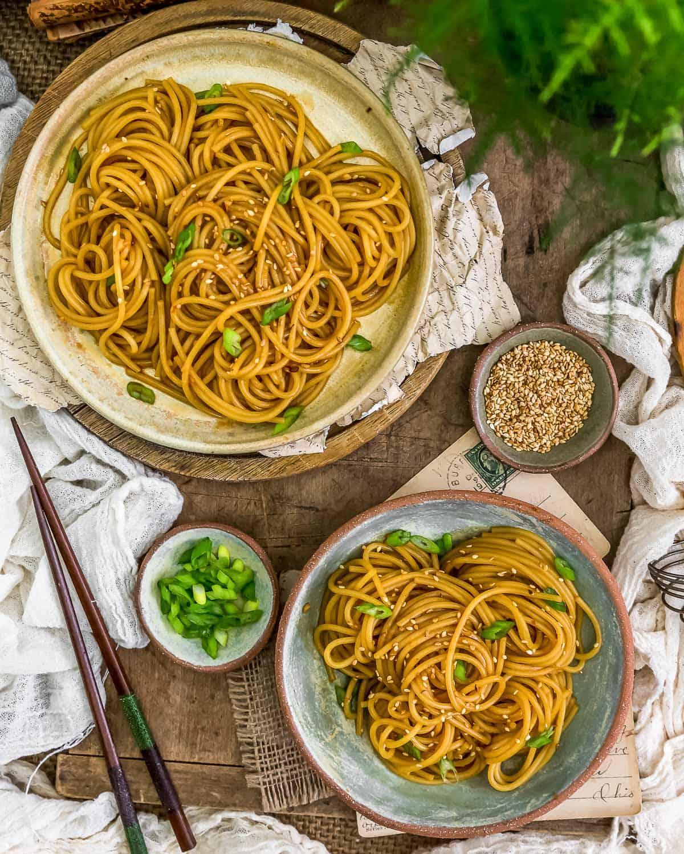 Tablescape of Oil-Free Hibachi Noodles