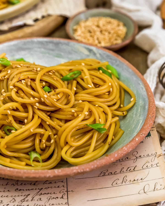 Close up of Oil-Free Hibachi Noodles