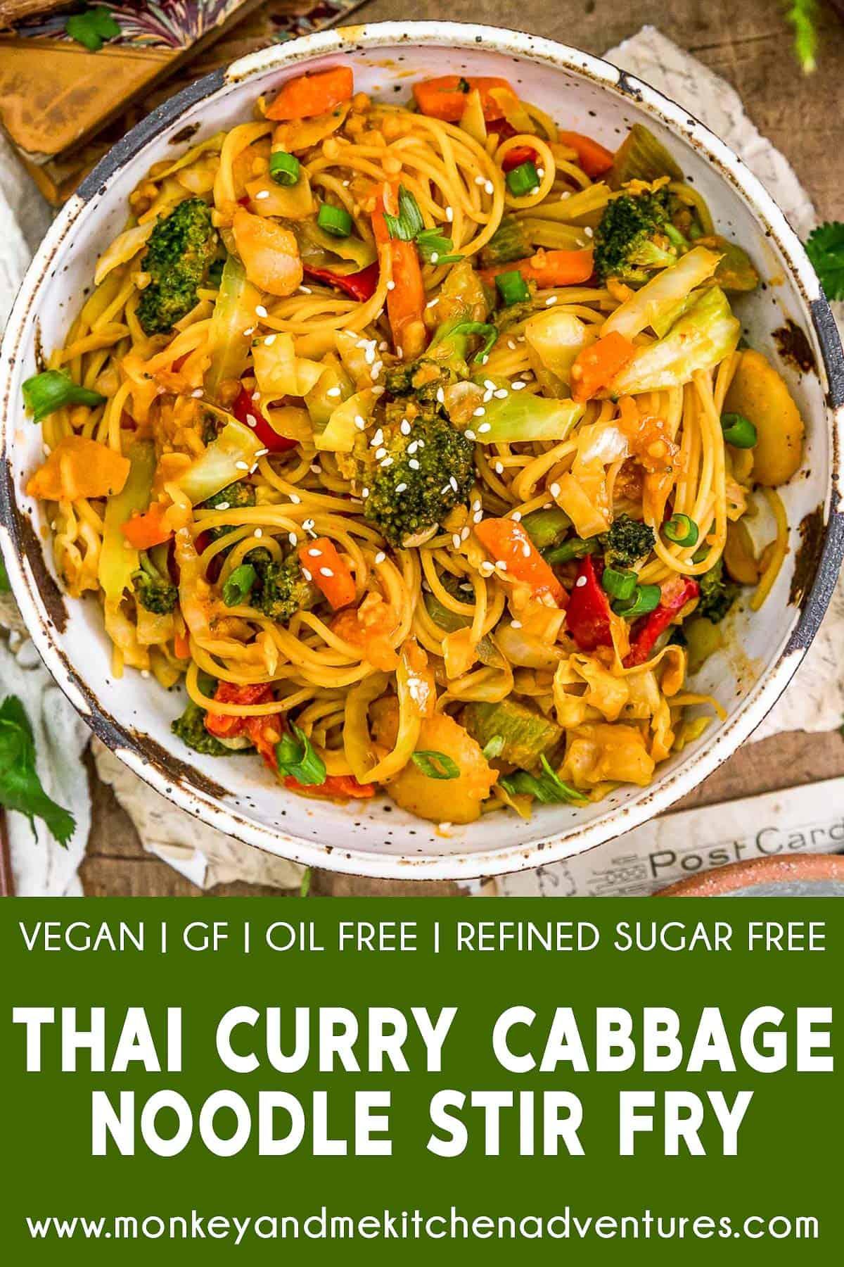 Thai Curry Cabbage Noodle Stir Fry with text description