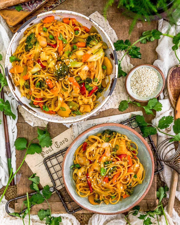 Tablescape Thai Curry Cabbage Noodle Stir Fry
