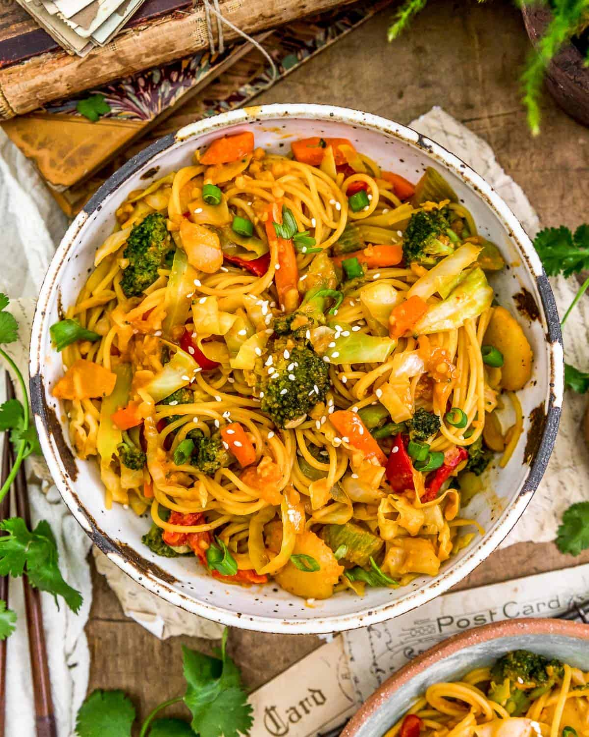 Bowl of Thai Curry Cabbage Noodle Stir Fry