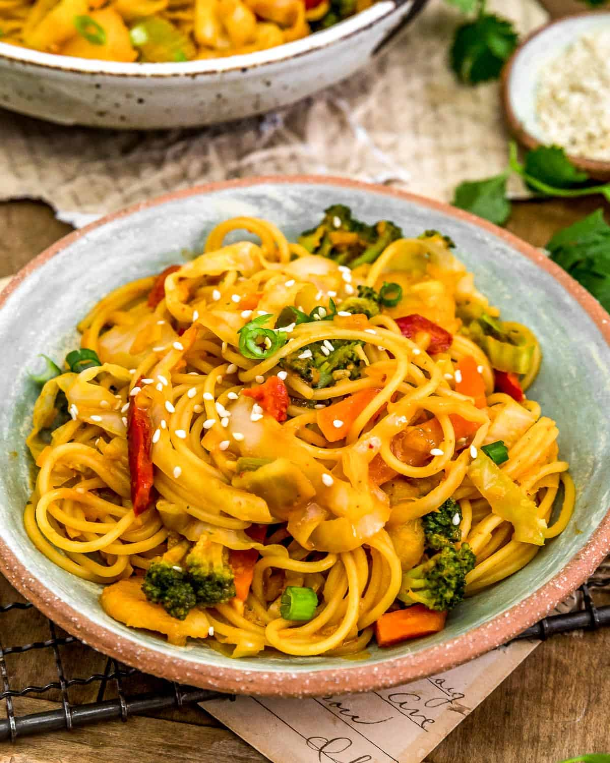 Served Thai Curry Cabbage Noodle Stir Fry