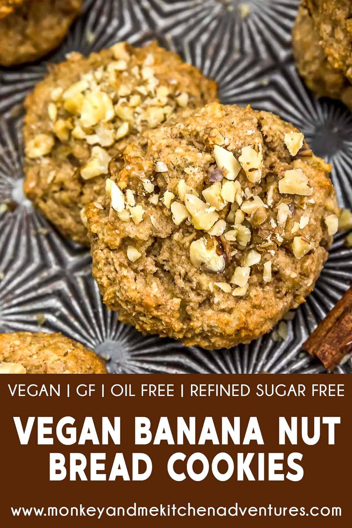Vegan Banana Nut Bread Cookies with text description