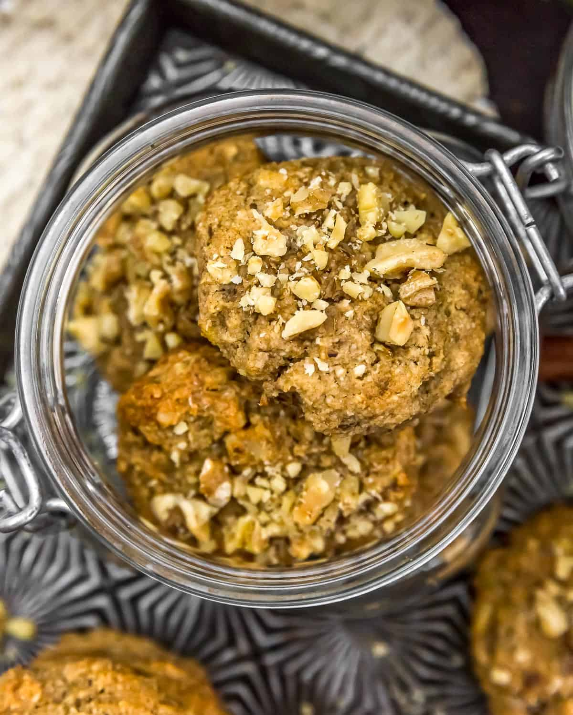 Jar of Vegan Banana Nut Bread Cookies