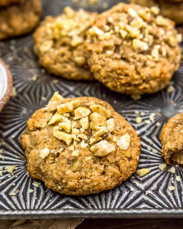Close up of Vegan Banana Nut Bread Cookies