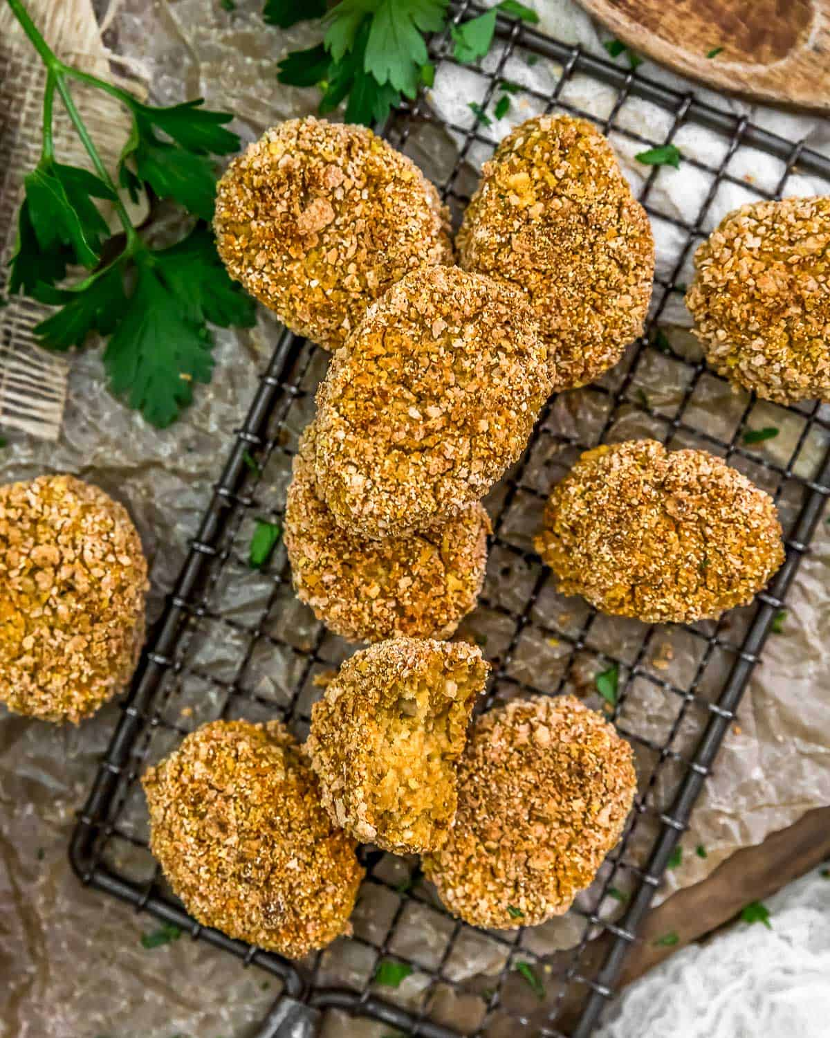 Vegan Chickpea Nuggets on a cooling rack