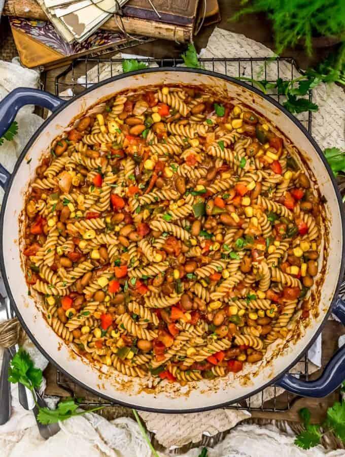 Skillet of Vegan Creamy Taco Pasta