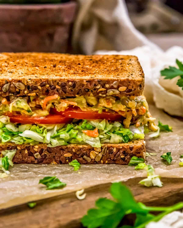 Close up of Veggie Sandwich Spread on a Sandwich