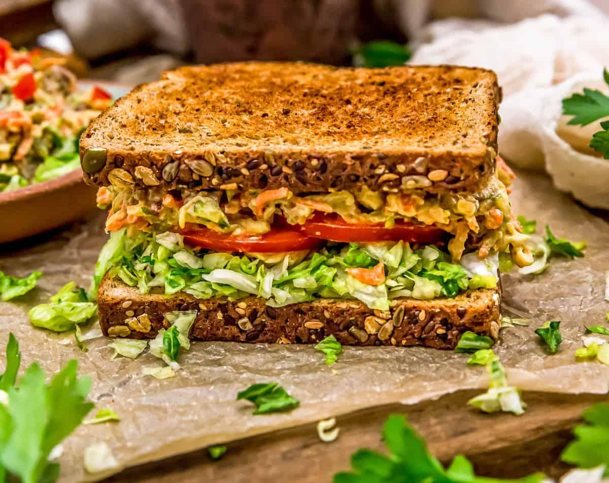 Veggie Sandwich Spread on a Sandwich