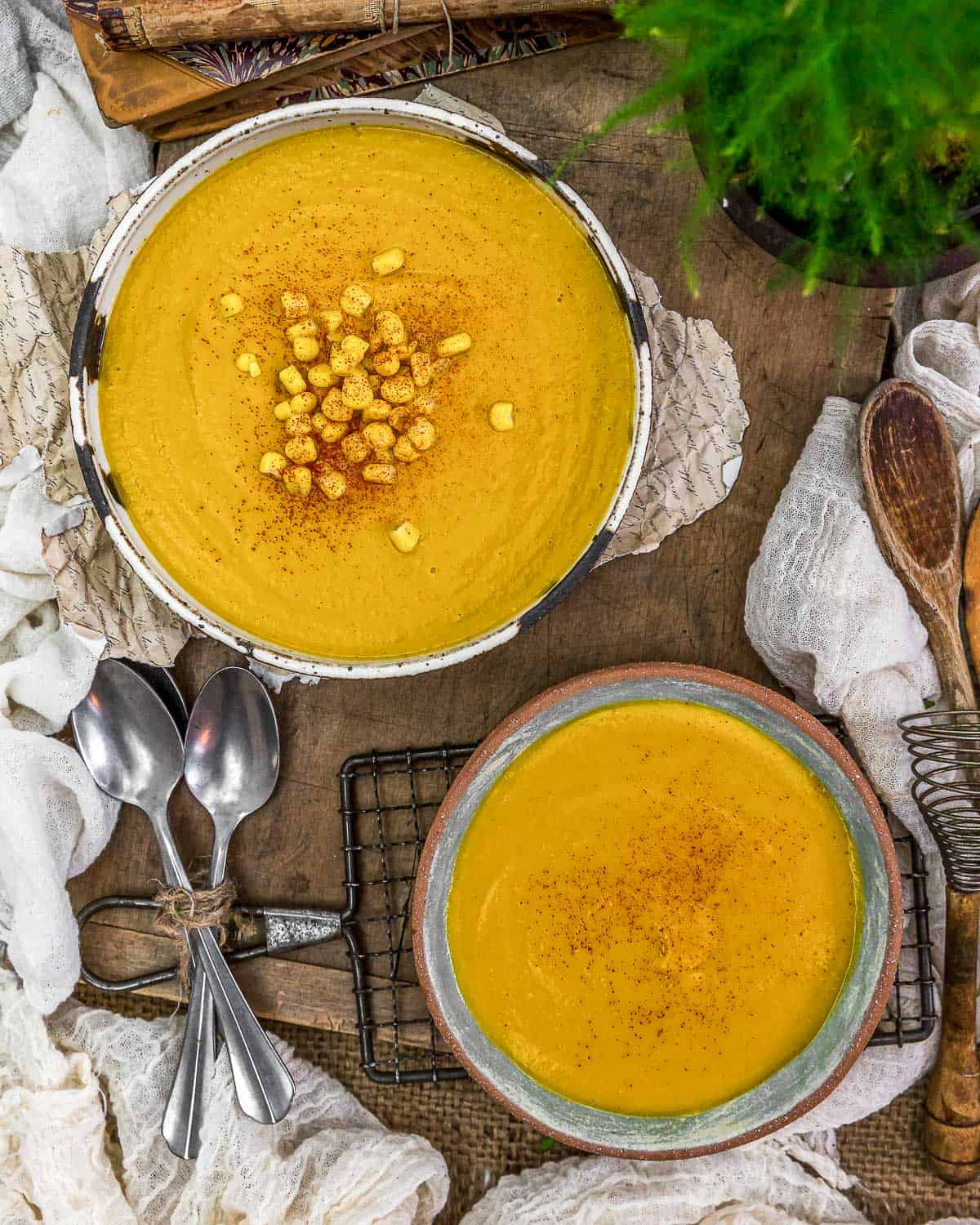 "Tablescape of Vegan ""Seafood"" Sweet Potato Corn Bisque"