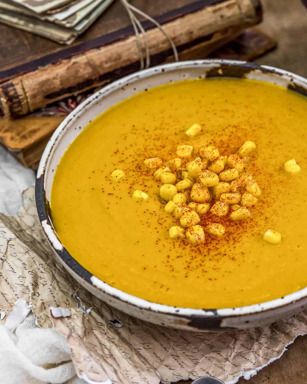 """Close up of Vegan """"Seafood"""" Sweet Potato Corn Bisque"""