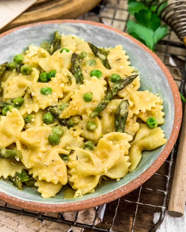 Close up of Dijon Asparagus Pasta