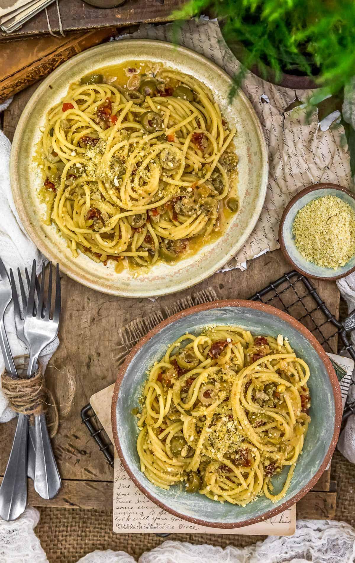 Tablescape of Spaghetti alla Siciliana