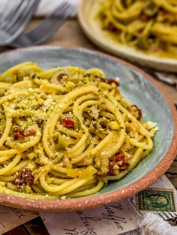 Close up of Spaghetti alla Siciliana