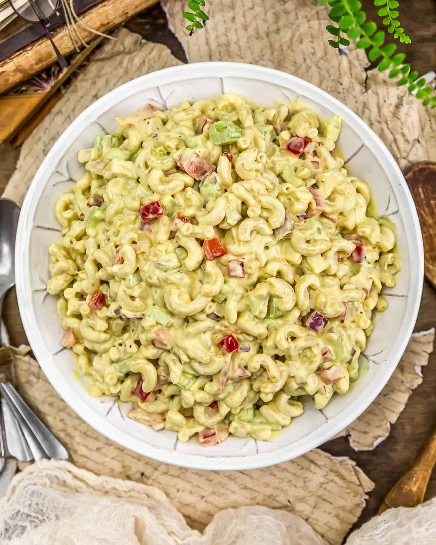 Bowl of Vegan Amish Macaroni Salad