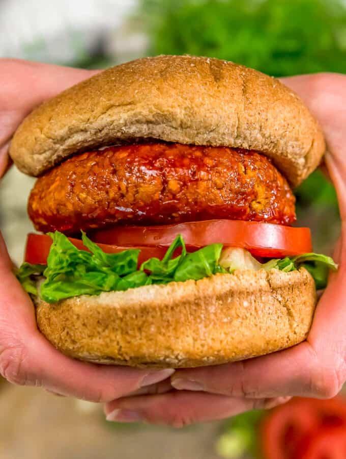 Eating a Vegan Firecracker Burger