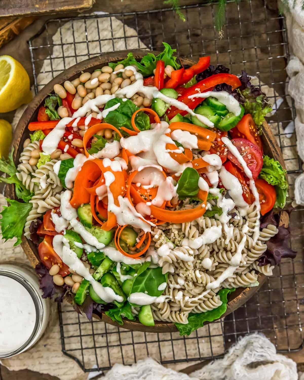 Vegan Lemon Sunflower Seeds Dressing on a salad