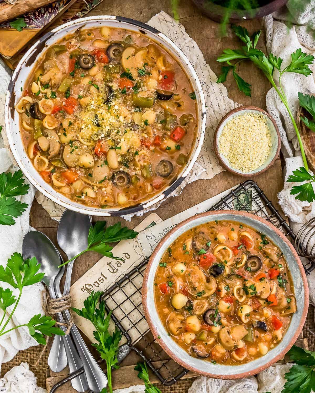 Tablescape of Vegan Pizza Pasta Soup