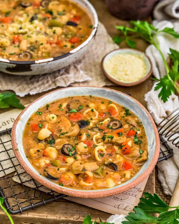 Served Vegan Pizza Pasta Soup