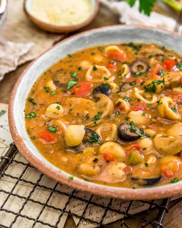 Close up of Vegan Pizza Pasta Soup