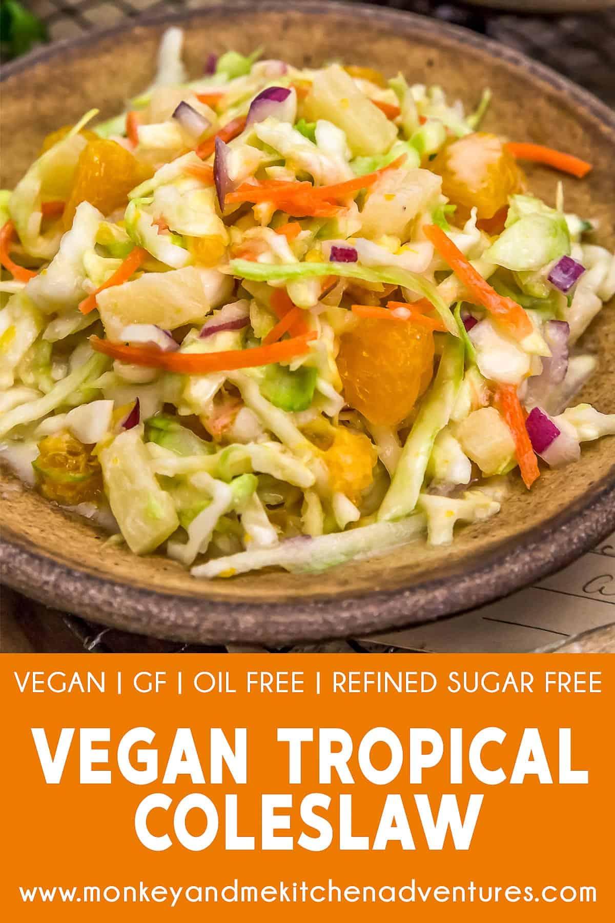Vegan Tropical Coleslaw with text description