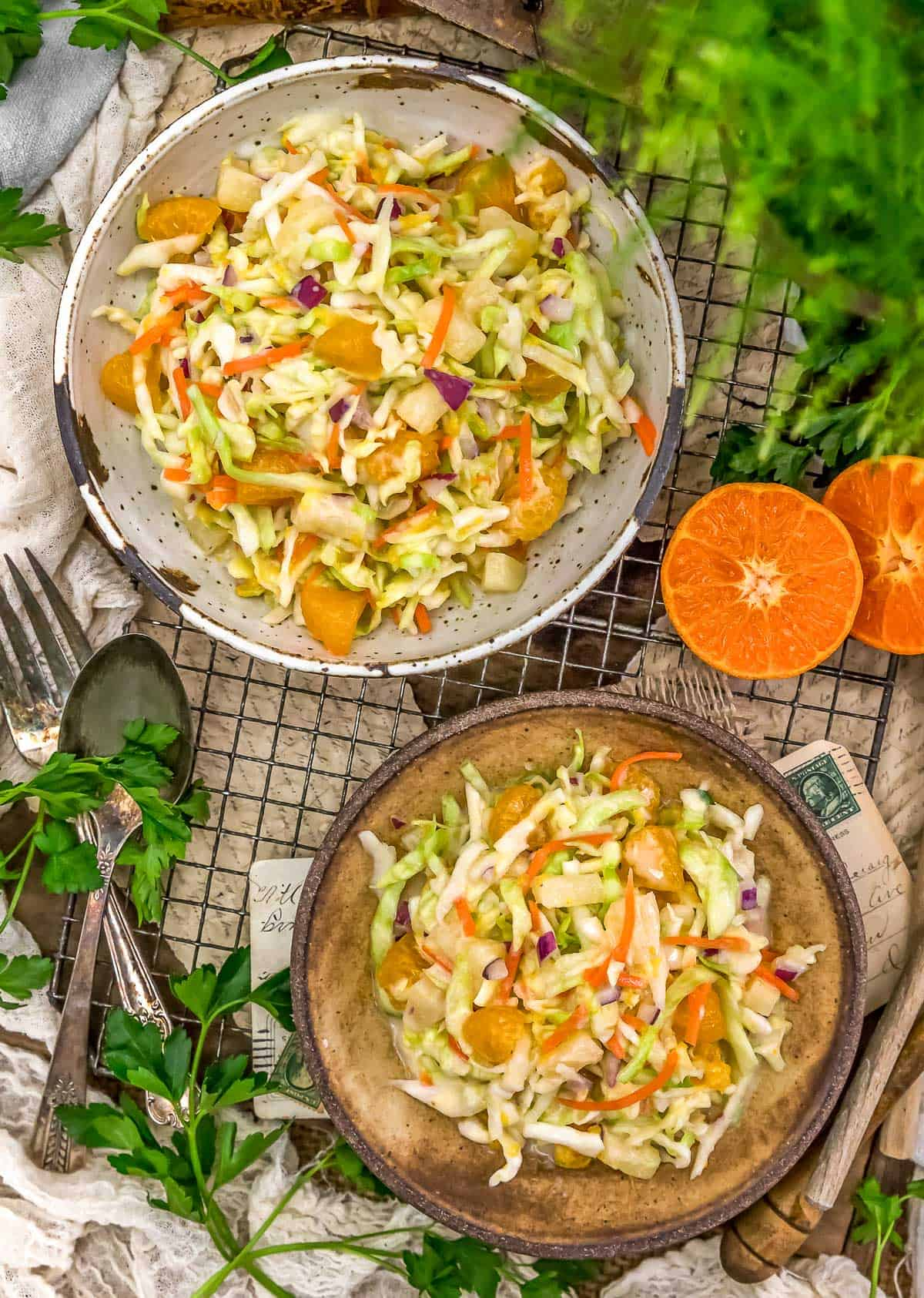 Tablescape of Vegan Tropical Coleslaw