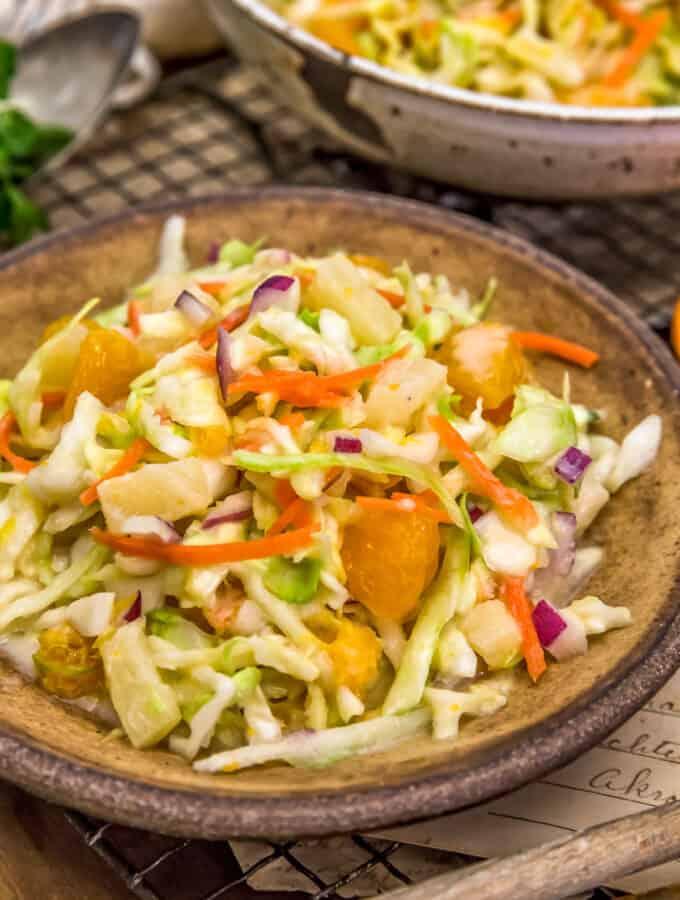 Plate of Vegan Tropical Coleslaw