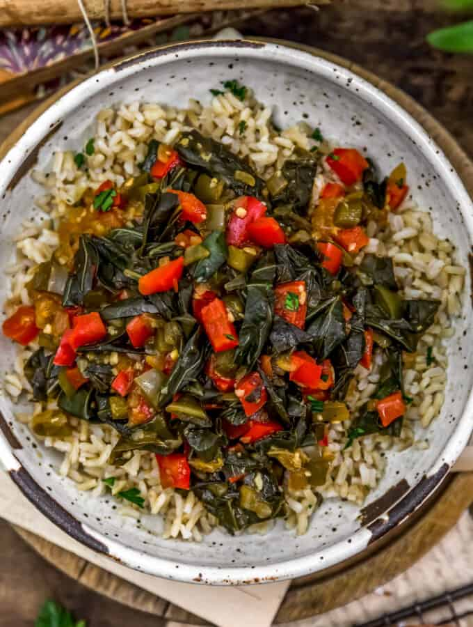 Bowl of Sweet and Spicy Collard Greens