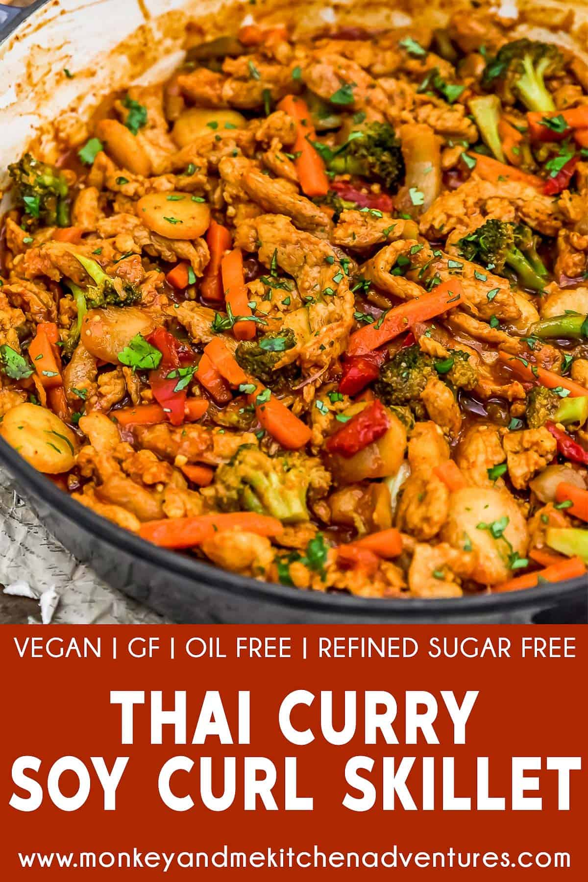 Thai Curry Soy Curl Skillet with text description