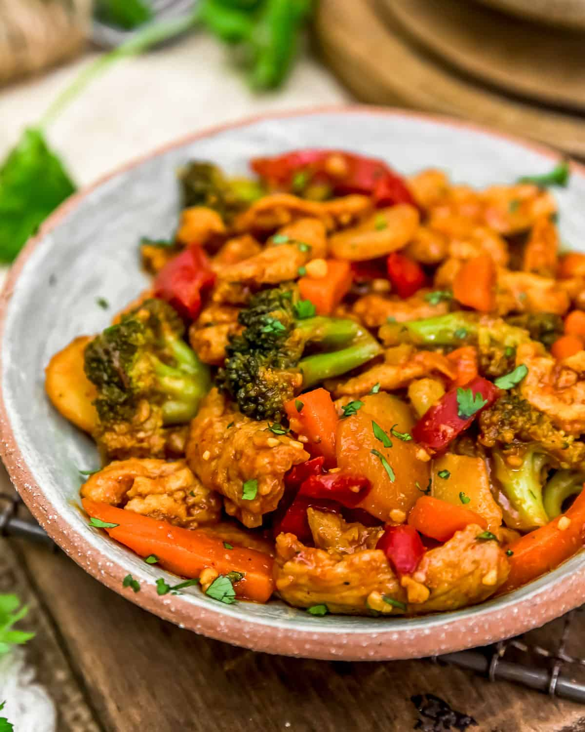 Close up of Thai Curry Soy Curl Skillet