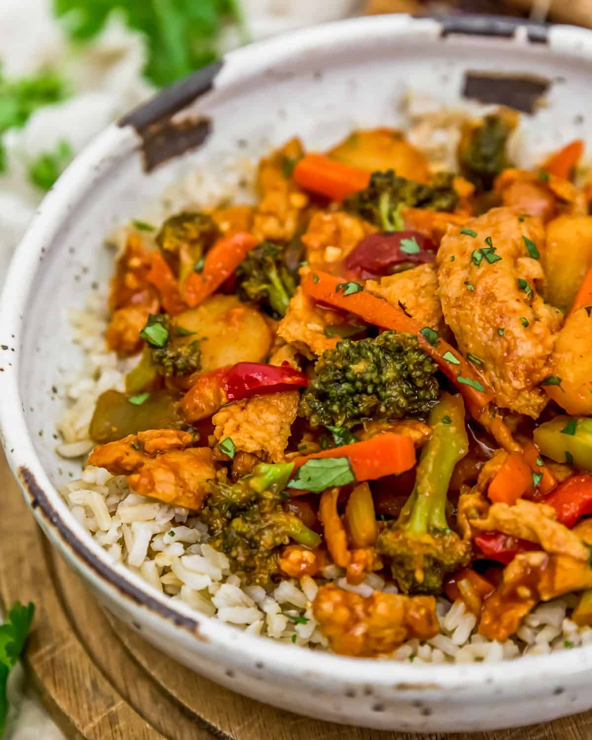 Bowl of Thai Curry Soy Curl Skillet