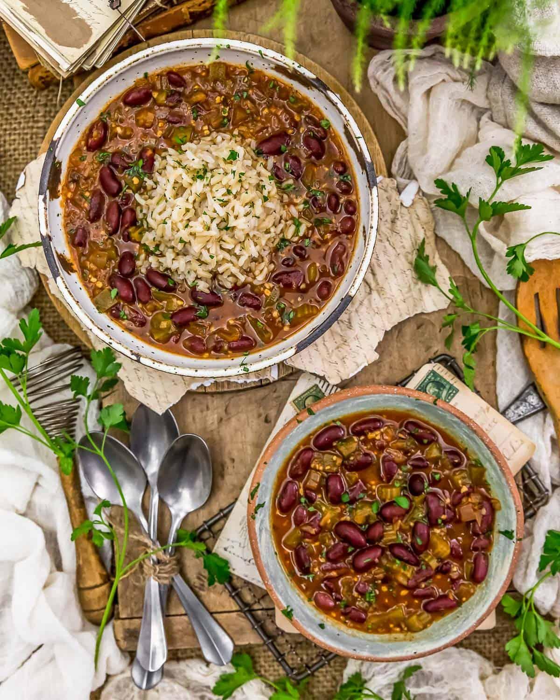 Tablescape of Vegan Creole Beans