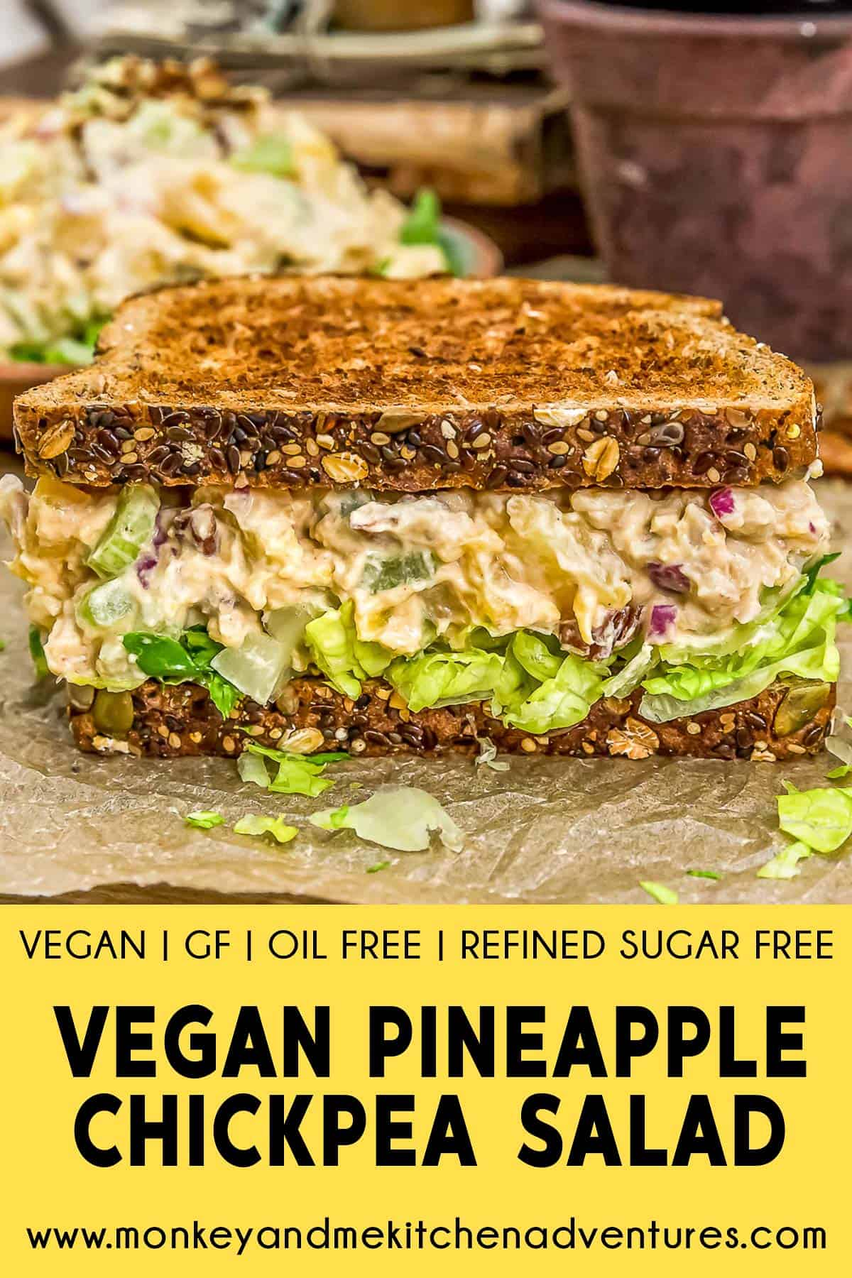 Vegan Pineapple Chickpea Salad with text description