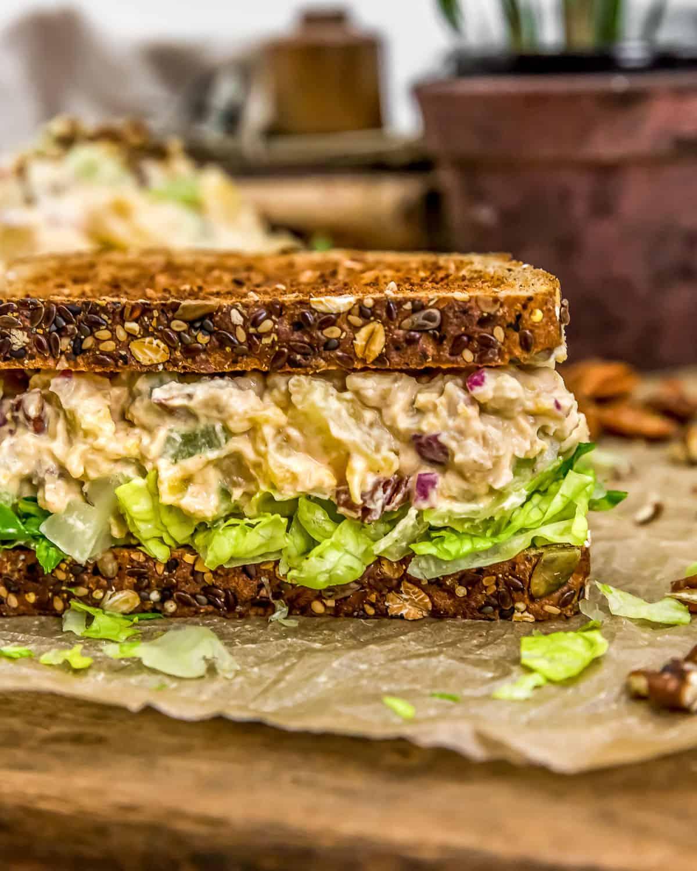 Close up of Vegan Pineapple Chickpea Salad Sandwich