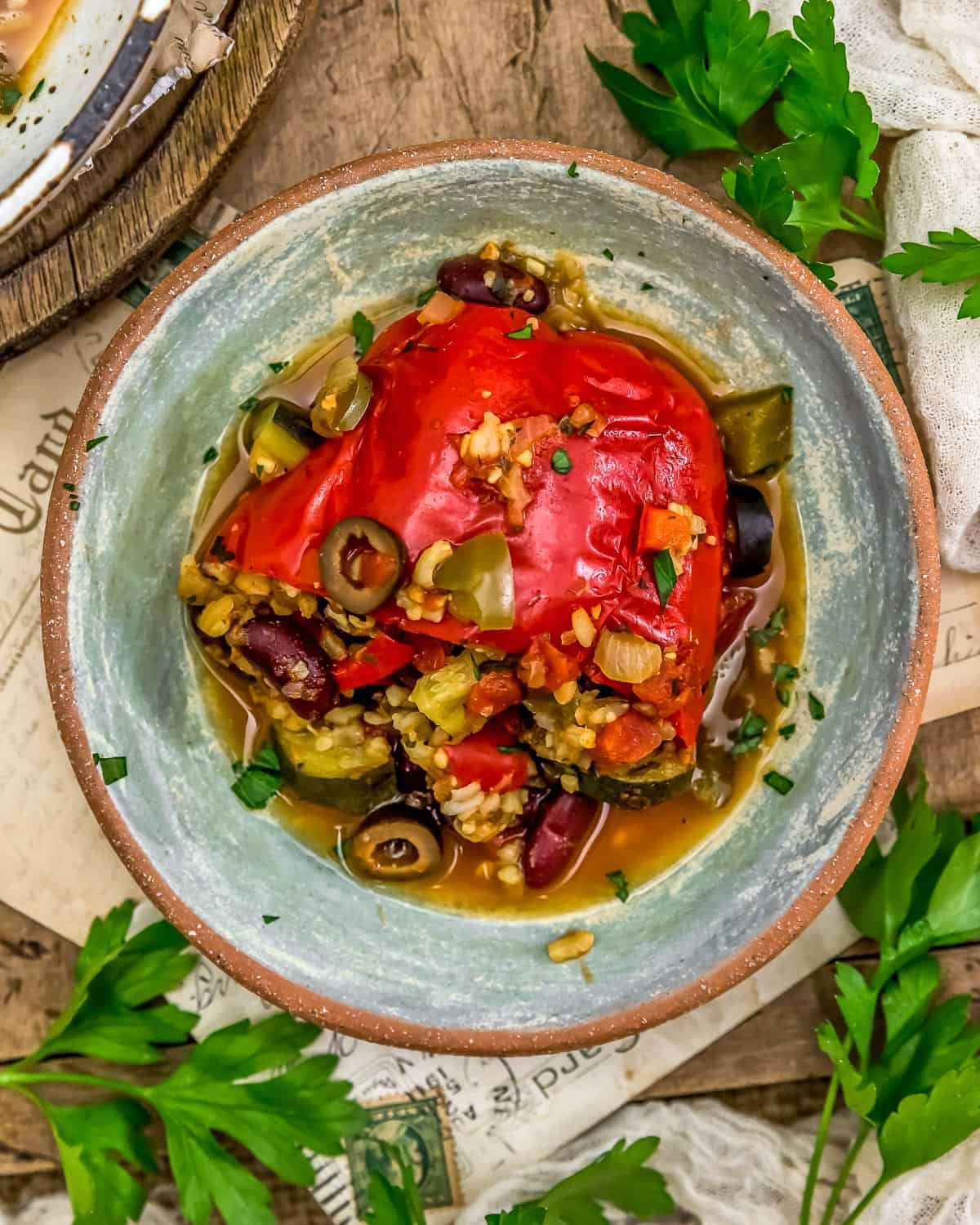 Plate of Vegan Pizza Stuffed Peppers